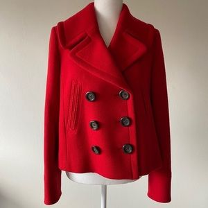J. Crew Red Double Breasted Wool Swing Pea Coat 6